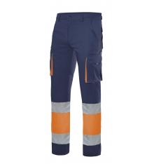 Pantalón stretch bicolor forrado multibolsillos alta visibilidad