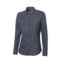 Camisa denim stretch manga larga mujer